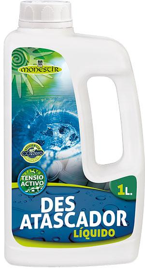 Desatascador líquido de uso doméstico para todo tipo de tuberías y desagües. Acción rápida.